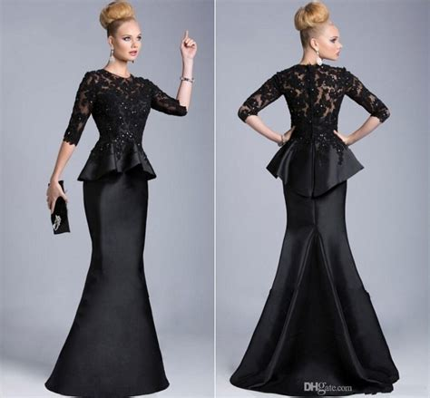 Best Seller Moeza Dress Hitam aliexpress buy robe de soiree 2015 black evening gowns half sleeves appliques lace