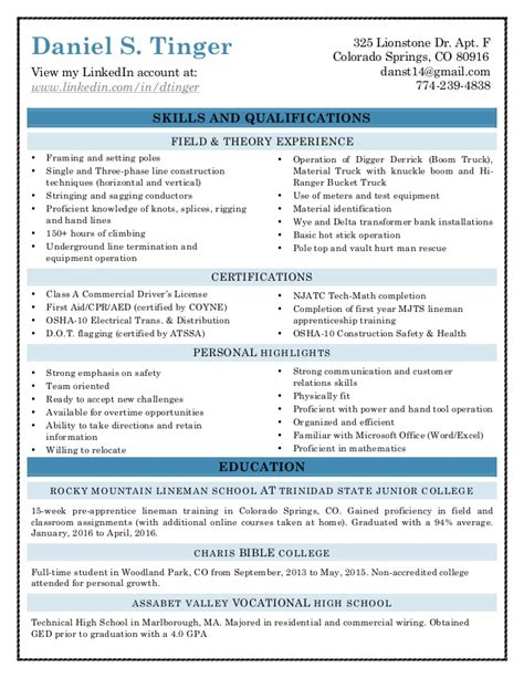 Lineman Resume by Lineman Resume