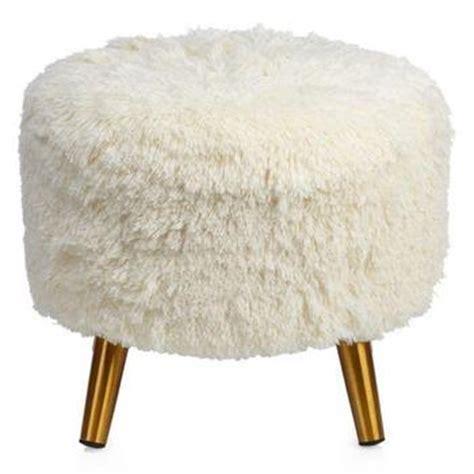 Ivory Faux Flokati Stool by Tavi Ivory Faux Mongolian Fur Stool