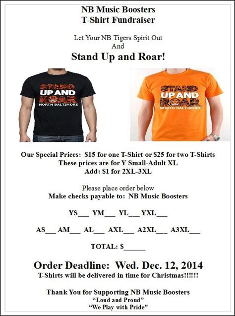 Nb Stand Up Roar T Shirt Fundraiser Thenbxpress Com T Shirt Fundraiser Flyer Template