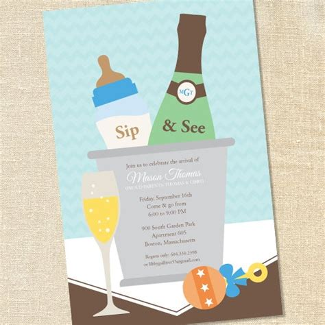 Sip And See Baby Shower by Sip And See Invites Boy Chagne Bottles Sip See