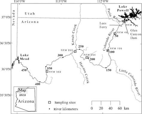 grand map colorado river map of the glen dam study area