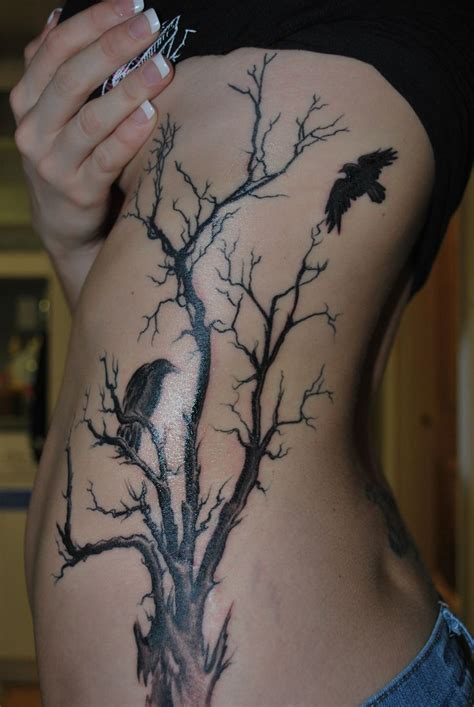 side tattoos dead tree and crows tattoos birds
