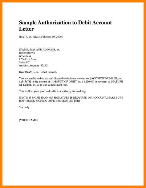authorization letter for bank debit card 5 payment authority letter rn cover letter