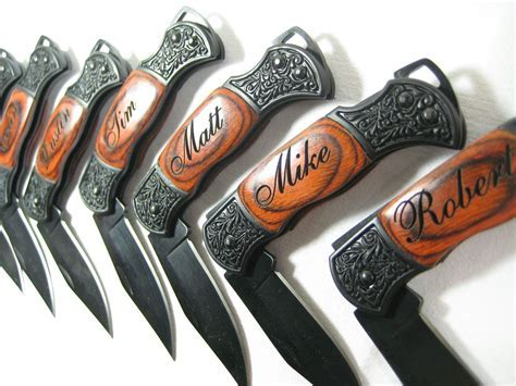 6 Engraved Black Decor Folding EDC Pocket Knives