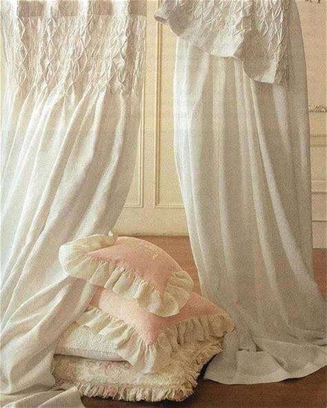 shabby french provincial curtains drapes 2 ivory vintage