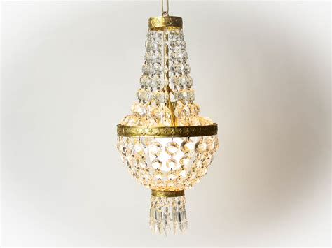 1960s French Vintage Crystal Chandelier Pendant Light Pendant Light Fixture