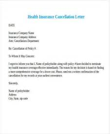 Insurance Termination Letter Sle Cancellation Letter To Health Insurance 28 Images How