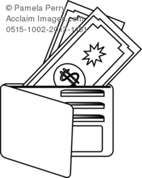 coloring book credits clip illustration of an open wallet with money and
