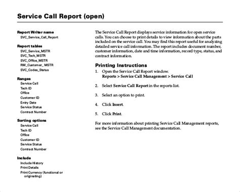 sample service report template   word