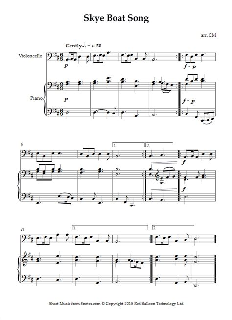 skye boat song chords lyrics skye boat song sheet music for cello 8notes