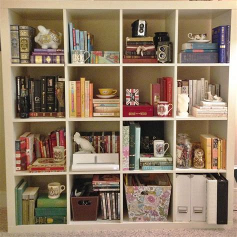 ikea expedit bookcase styled by color let s decorate