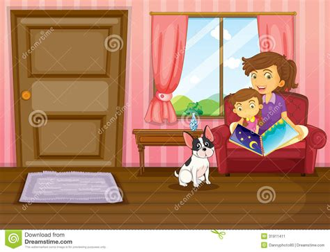 dogs inside the house a mother and a girl reading with a dog inside the house stock image image 31911411