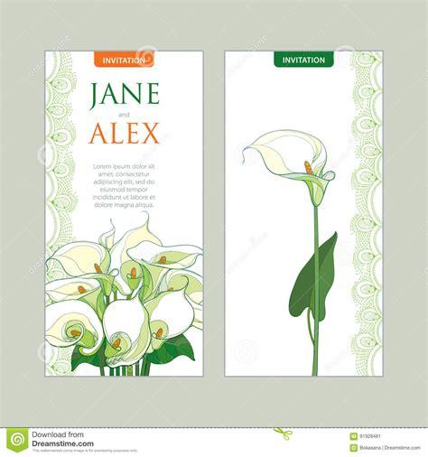 Vector Wedding Invitation With Outline Bouquet Calla Lily Flower Or Zantedeschia In Pastel Free Calla Wedding Program Templates