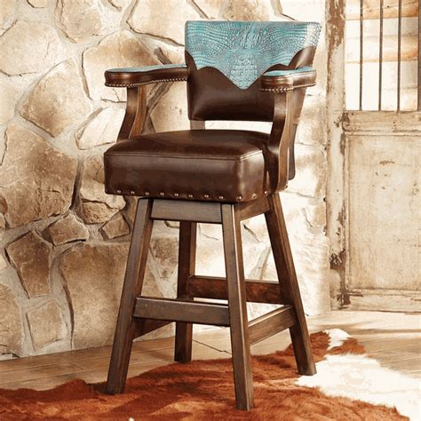 Western Leather Bar Stools by Ranchero Turquoise And Brown Leather Barstool