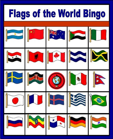 printable flags of the world flags of the world bingo free printable only enough for
