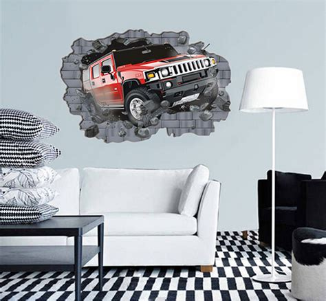 car themed home decor 2015 recommend item 3d crazy crashing car wall sticker