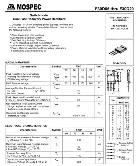 Produk Mur1660ct Fast Recovery Diode f30d20a dual fast recovery power rectifiers