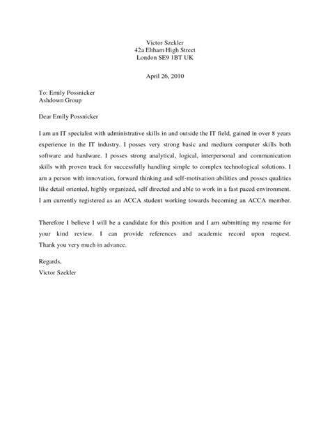 Cover Letter Exle Basic Coverletter Sles Coverletters And Resume Templates