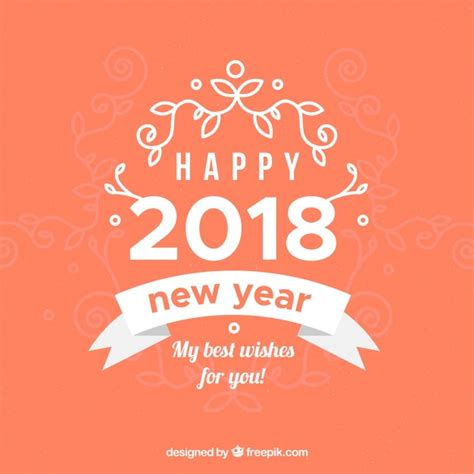 new year orange picture happy new year 2018 in orange vector free