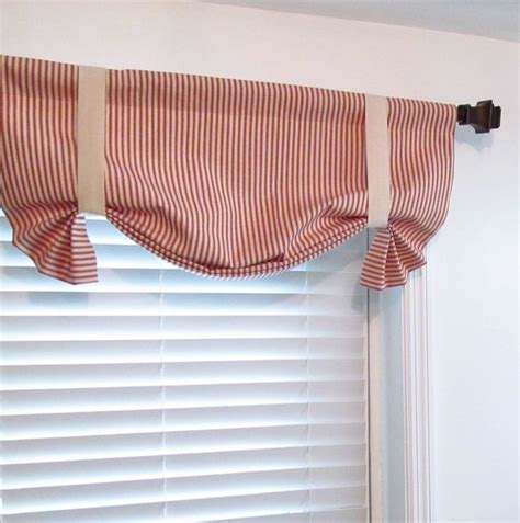 tie up curtains window treatments tie up valance red natural woven ticking stripe custom