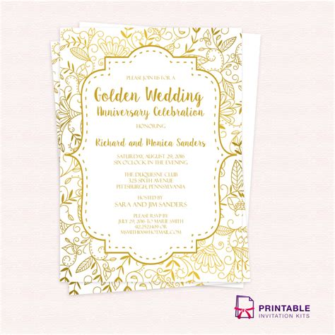 Free Pdf Template Golden Wedding Anniversary Invitation Template Easy To Edit And Print At 50th Anniversary Templates Free