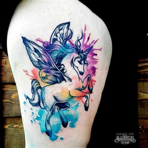 watercolor tattoo unicorn brand new watercolor thigh from logios