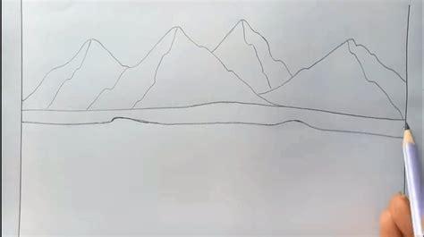 tutorial menggambar pemandangan cara menggambar alam pegunungan untuk anak dengan pensil