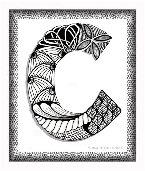 doodle c zentangle c monogram alphabet illustration image