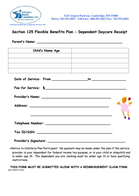 Daycare Receipt Template Pdf by Top 8 Daycare Receipt Templates Free To In Pdf Format
