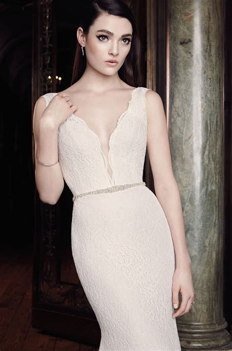 Shop Wedding Dresses By Style by Plunging Lace Wedding Dress Style 2016 Mikaella Bridal