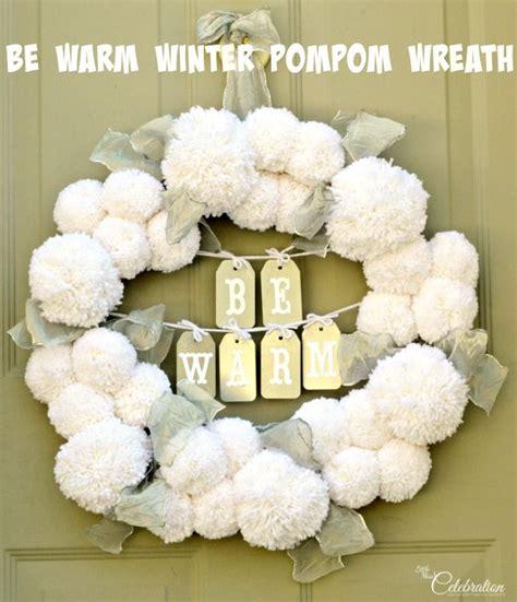 warm winter pompom wreath diy home decor ideas wreaths christmas wreaths pom pom wreath