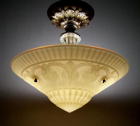 Vintage Ceiling Light Fixtures Antique Deco Semi Flush Mount Vintage Ceiling L Light Fixture Ebay