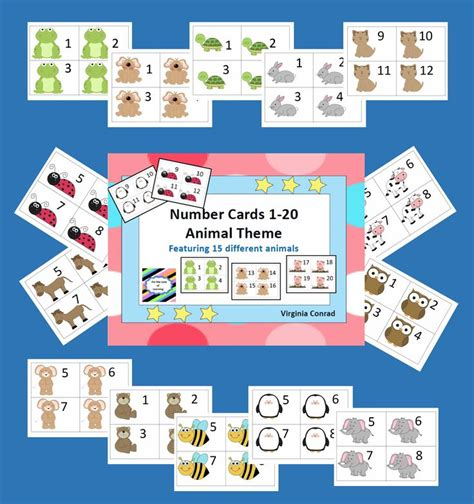 Sequence Number On Gift Card - number sequence animal cards 1 20 15 sets with animals