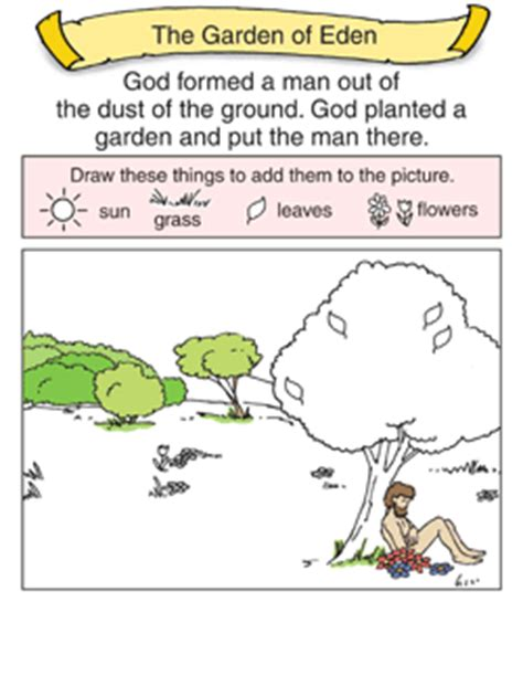 garden of eden printable activity sheets preschool bible activities children s worship bulletins