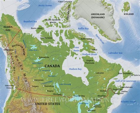 usa and canada physical features map canada physical map