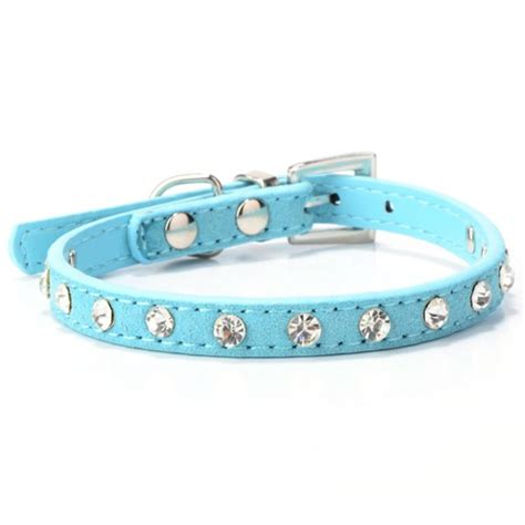 collar bell puppy dogs collar bell rhinestone pu leather cat supply collars pet neck