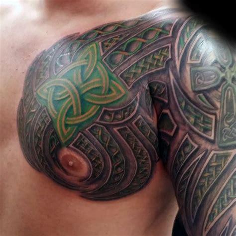 irish tattoo on chest green knots mens celtic sleeve and chest tattoos irish