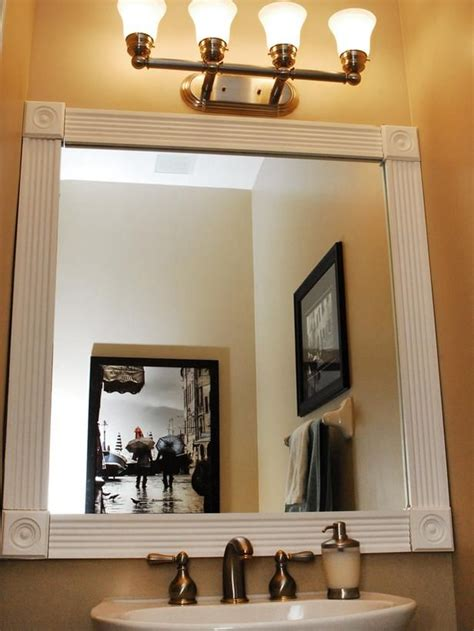 bathroom mirror trim dress up your bathroom mirror by adding molding around the