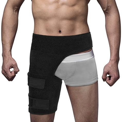 thigh support compression brace wrap black sprains therapy