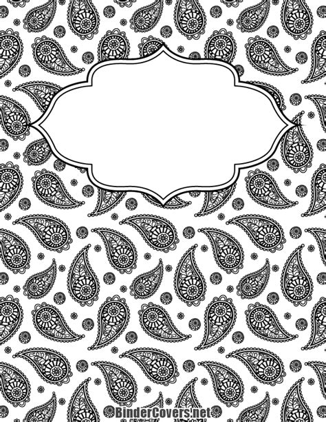 black white covers printable black and white paisley binder cover