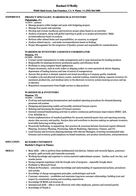 inventory control analyst resume tgam cover letter