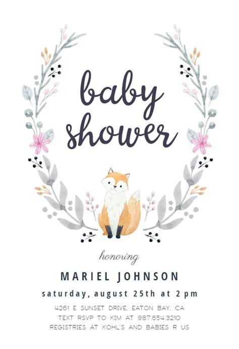 soft fox baby shower invitation template