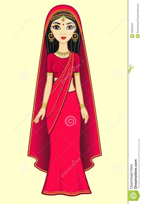 cartoon indian princess dress animation indian princess stock vector image 50250019