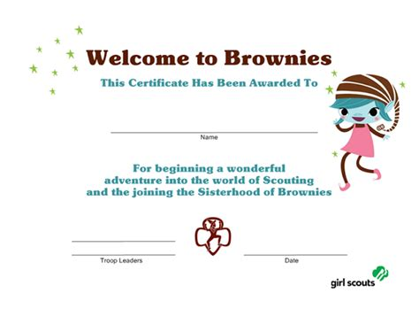 girl scout printables welcome to brownies certificate