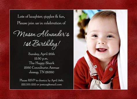 1st birthday invitation for baby boy color photo baby s birthday invitation favorite design