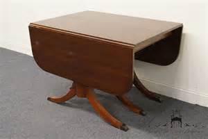 Pedestal Drop Leaf Table Vintage Duncan Phyfe Mahogany Drop Leaf Triple Pedestal