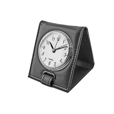 natico folding travel alarm clock faux black leather