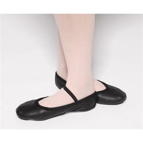 tappers and pointers elasticated black leather ballet