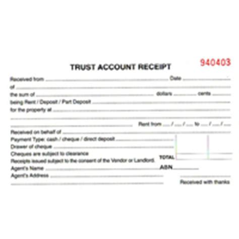 Trust Account Receipt Book Template by Property Management Trust Account Receipt Paper Stationery